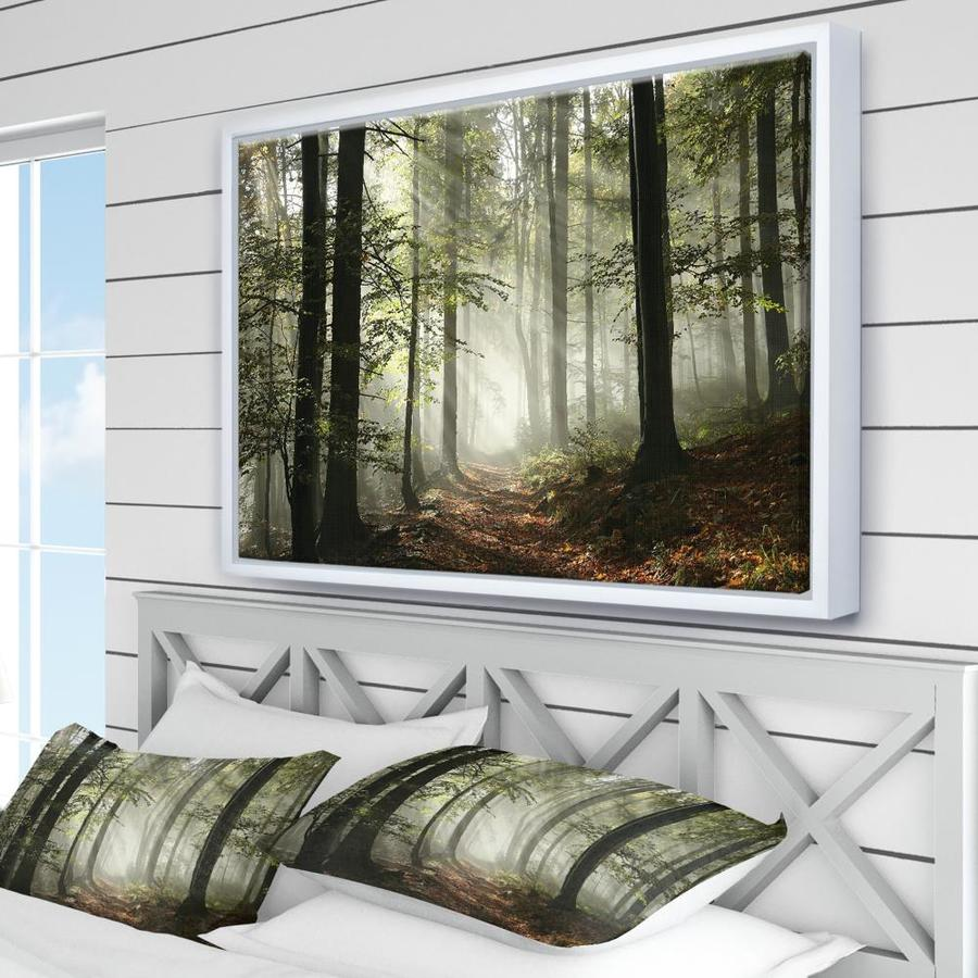Designart Light In Dense Fall Forest With Fog Landscape Art Print Framed Canvas In The Wall Art Department At Lowes Com