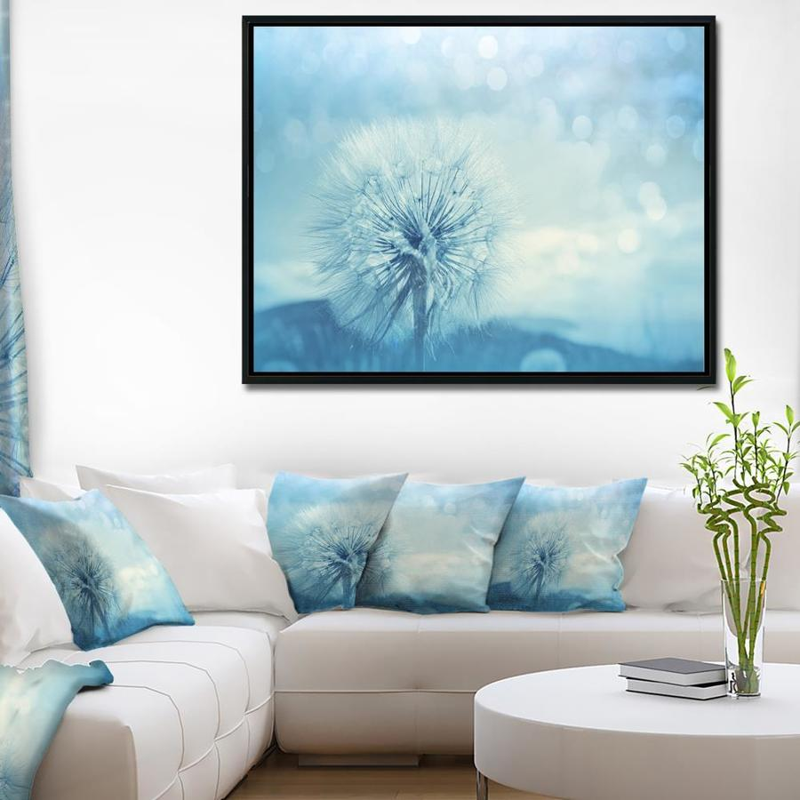 Designart Close Up White Dandelion With Filter Large Flower Framed Canvas Wall Art In The Wall Art Department At Lowes Com