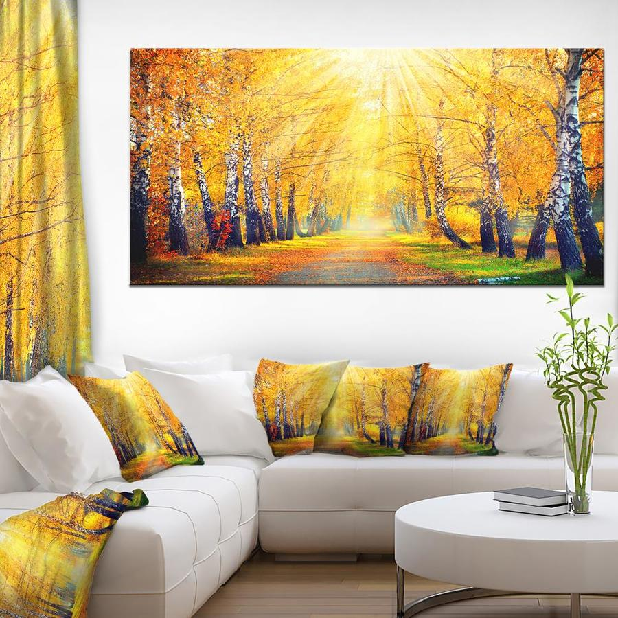Designart Yellow Autumn Trees In Sunray Large Landscape Canvas Art Print In The Wall Art Department At Lowes Com