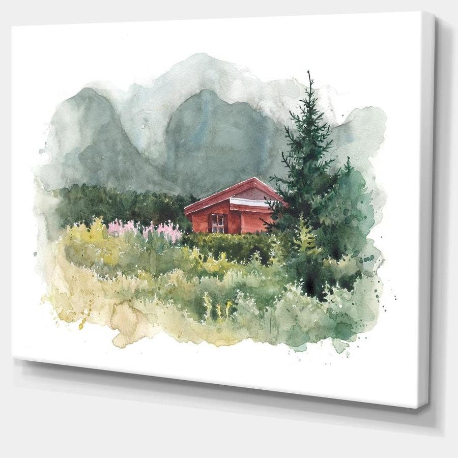 Designart Watercolor House Aad Mountains Landscape Canvas Art Print In The Wall Art Department At Lowes Com