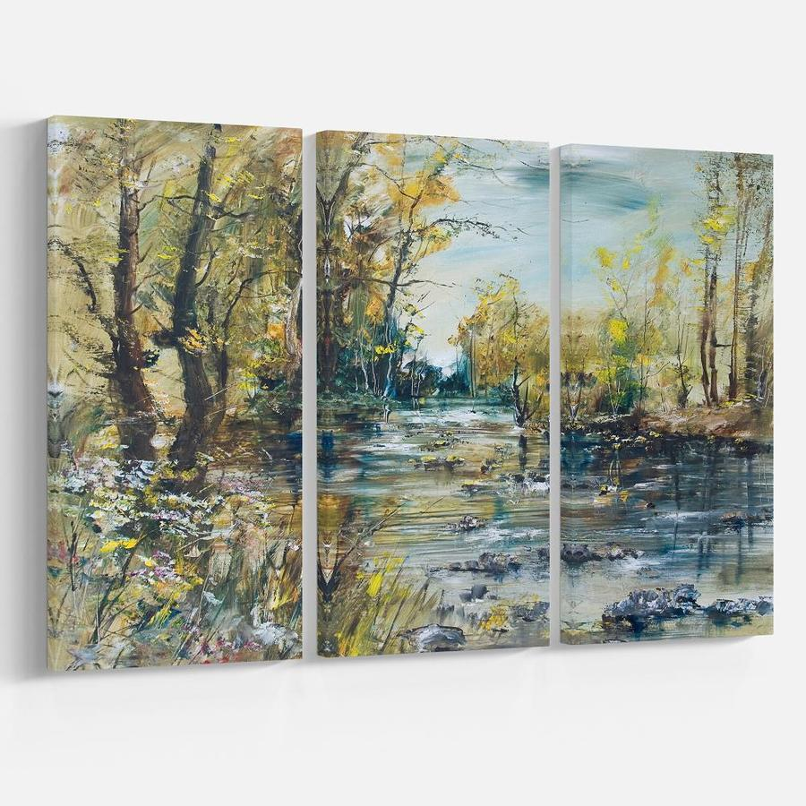 Designart Rocky River In The Forest Landscapes Painting Print On Wrapped Canvas Set In The Wall Art Department At Lowes Com