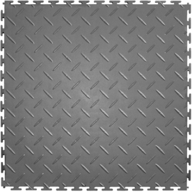 IT-tile Diamond Plate 20-1/2 in. x 20-1/2 in. Light Gray Vinyl Interlocking Multipurpose Flooring Tiles (23.25 sq. ft./case) 540LG4