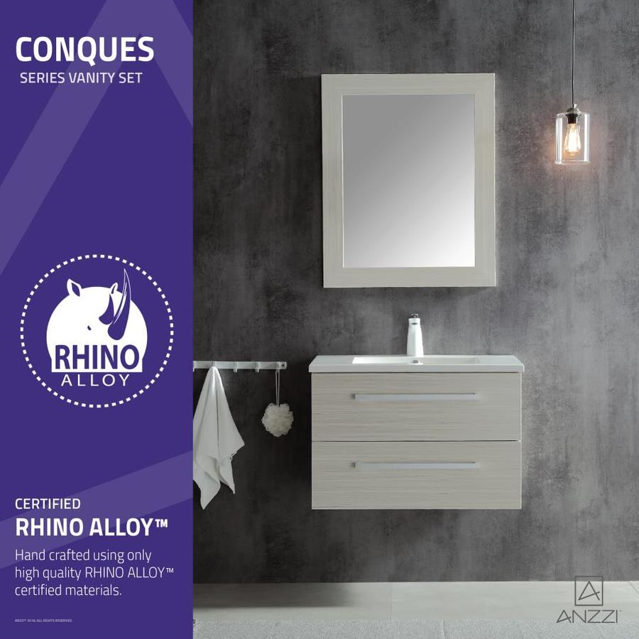 Anzzi Conques 30 In White Undermount Single Sink Bathroom Vanity With White Ceramic Top Mirror Included In The Bathroom Vanities With Tops Department At Lowes Com