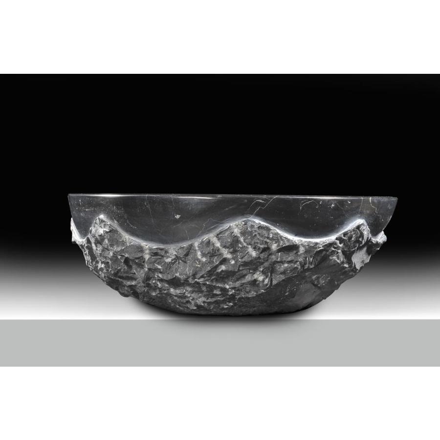 Anzzi Diver Black Jade Stone Vessel Round Bathroom Sink Drain Included 16 5 In X 16 5 In In The Bathroom Sinks Department At Lowes Com