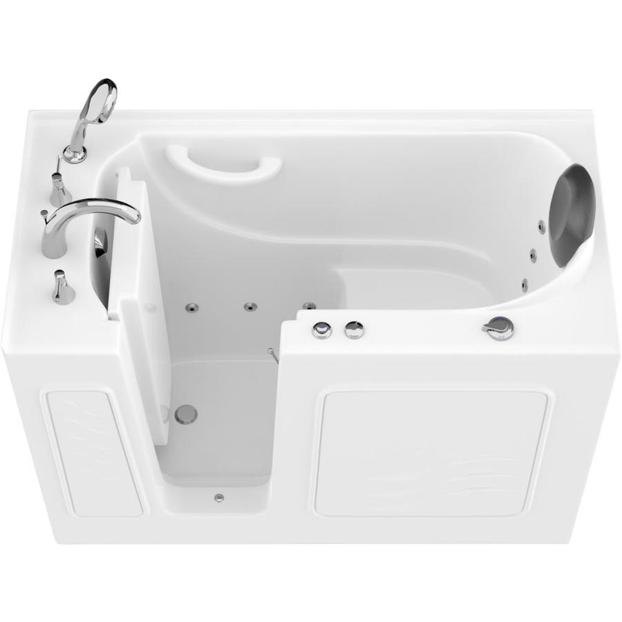 Endurance Safe Palace 26.375-in W x 53-in L White Gelcoat/Fiberglass Rectangular Left-Hand Drain Walk-In Whirlpool Tub and Faucet Included