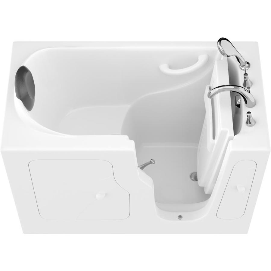 Endurance Safe Palace 28-In W X 53-In L White Gelcoat/Fiberglass Rectangular Right-Hand Drain Walk-In Bathtub And Faucet