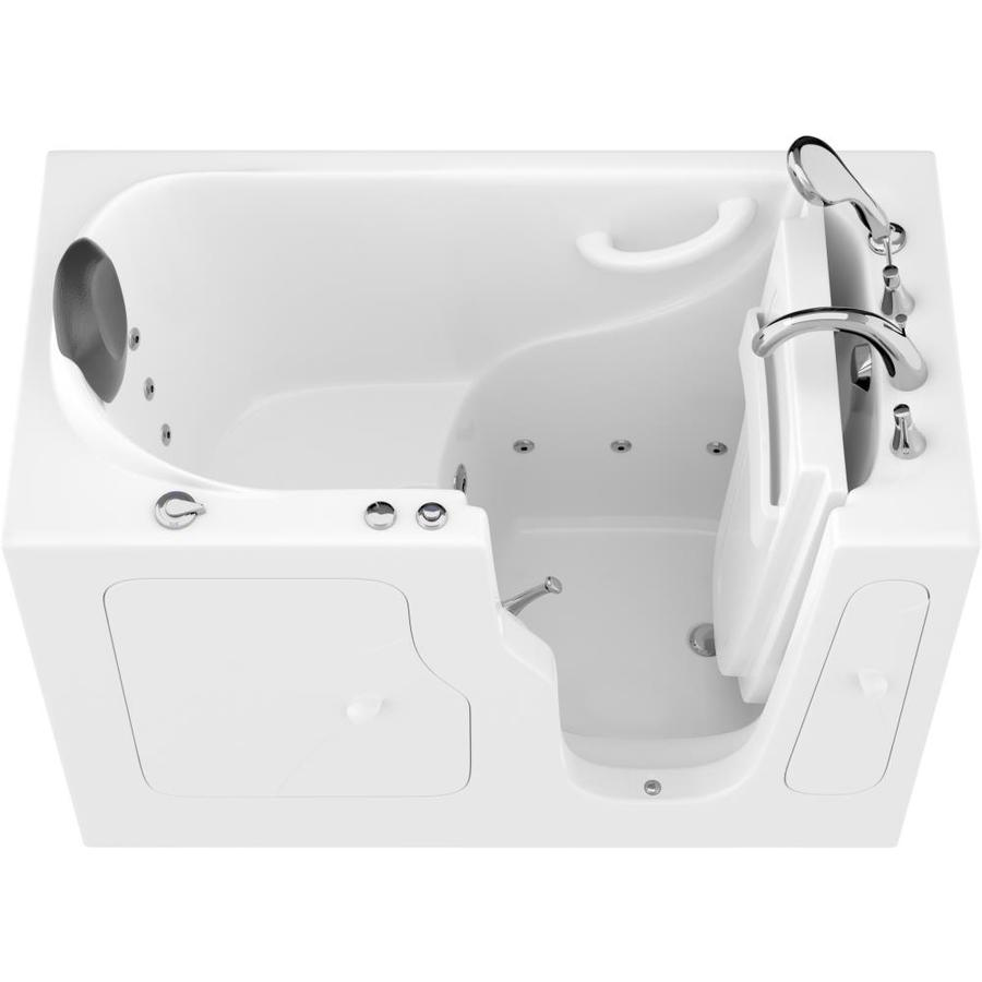 Endurance Safe Palace 28-In W X 53-In L White Gelcoat/Fiberglass Rectangular Right-Hand Drain Walk-In Whirlpool Tub And