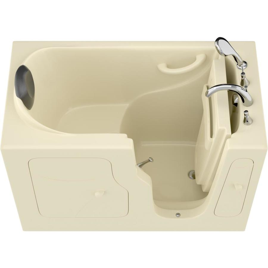 Endurance Safe Palace 28-In W X 53-In L Biscuit Gelcoat/Fiberglass Rectangular Right-Hand Drain Walk-In Bathtub And Fauc