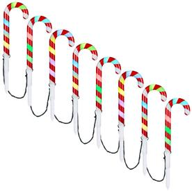 Gemmy Orchestra Of Lights 8-Marker Color Changing  Candy Cane Christmas Pathway Markers 112863