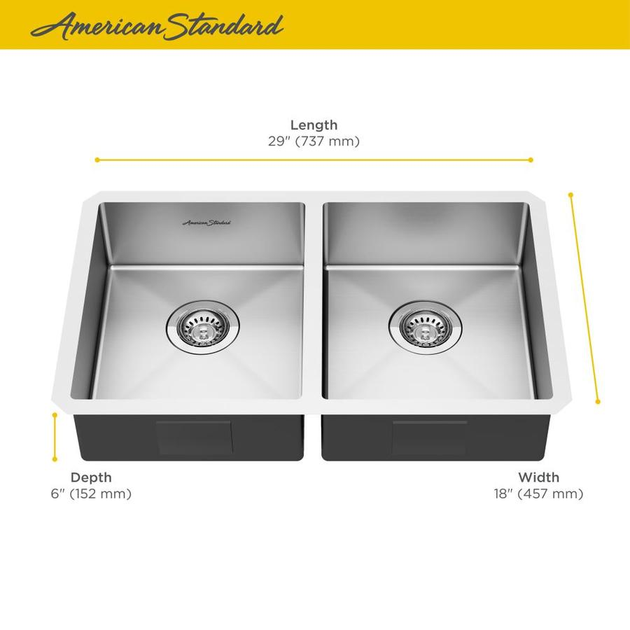 American Standard Pekoe 18 In X 29 In Stainless Steel Double Equal Bowl Short 7 In Or Less Undermount Residential Kitchen Sink In The Kitchen Sinks Department At Lowes Com
