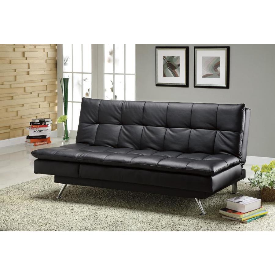 Hasty Black Faux Leather Futon