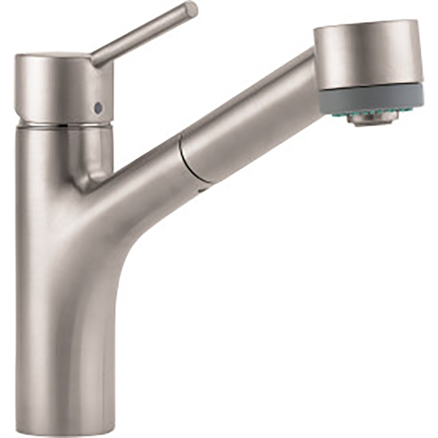 hans grohe kitchen faucets shop hansgrohe hg kitchen steel optik low arc kitchen faucet at lowes com 1380