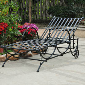 International Caravan Wrought Iron Patio Chaise Lounge Ch...