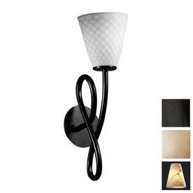 shop cascadia lighting 5 in w limoges capellini 1 light matte black arm wall sconce at. Black Bedroom Furniture Sets. Home Design Ideas