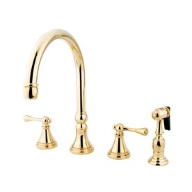 Elements of design polished brass 2 handle high arc - Mico designs seashore kitchen faucet ...