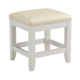 "Home Styles Bench - Vinyl Cream Seat - Hardwood White Frame - 17"" Seat Width x 15"" Seat Depth - 17"" Width x 15"" Depth x 19"" Height"