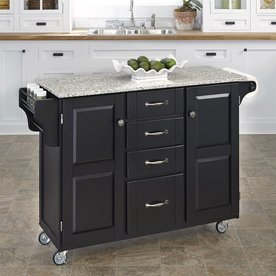 Home Styles Kitchen Cart with Granite Top Black