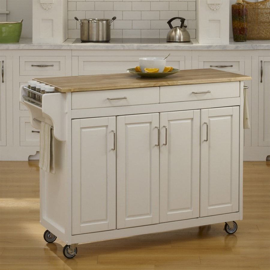 kitchen islands on casters shop home styles 48 75 in l x 17 75 in w x 34 75 in h white kitchen island with casters at lowes com 2080