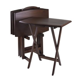 Winsome Wood 23.75-in x 15.75-in Other Wood Antique Walnut Folding Table 94517