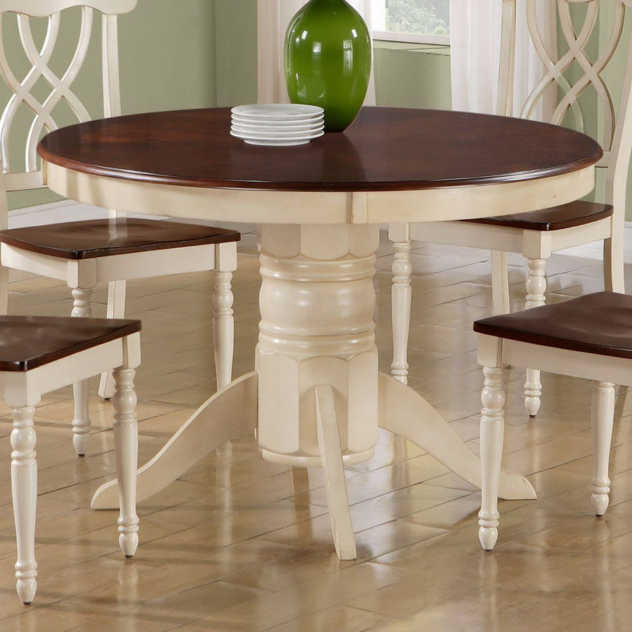 White Round Kitchen Tables: Shop Monarch Specialties Antique White/Walnut Round Dining