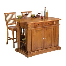 Home Styles 49.75-in L x 26.5-in W x 36.5-in H Cottage Oak Kitchen Island with 2 Stools 5004-948