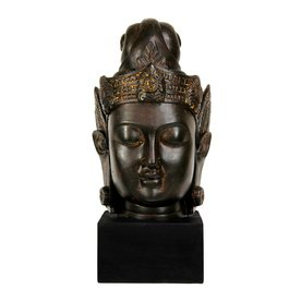 Oriental Furniture Resin Cambodian Buddha Head Statue Sta...