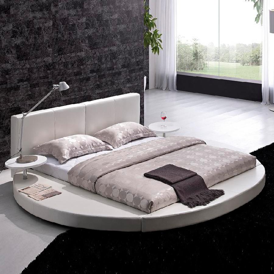 Shop tosh furniture white queen platform bed at - White queen platform bedroom set ...