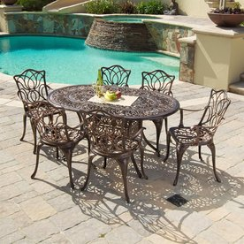 Display Product Reviews For Hatian 7 Piece Copper Metal Frame Patio Dining  Set
