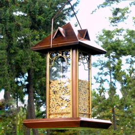 H. Potter Hip Roof Metal Tube Bird Feeder GAR458