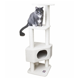 Majestic Pets Bungalow 52-In White Faux Fur Cat Tree 7889...