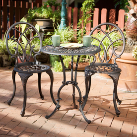 Display Product Reviews For Charleston 3 Piece Bronze Metal Frame Bistro  Patio Dining Set