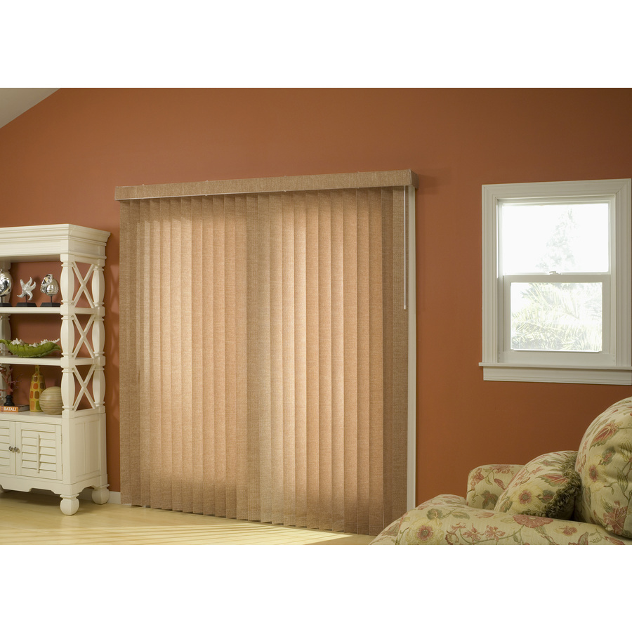 Style Selections 3 5 In Cordless Honey Fabric Light Filtering Vertical Blinds Common 78 In Actual 78 In X 84 In In The Blinds Department At Lowes Com