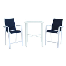 allen + roth Ocean Park 3-Piece White Glass Dining Patio Dining Set MW-5240-BAL-3PC