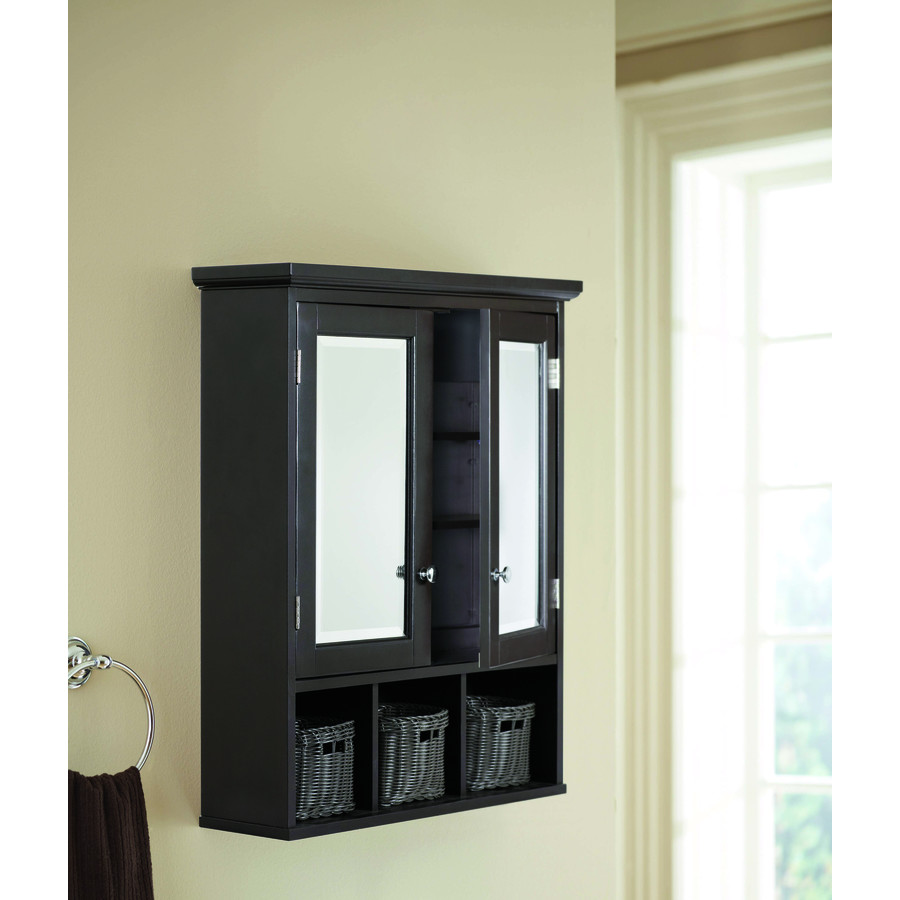 Allen Roth 24 75 In X 30 25 In Surface Espresso Mirrored Rectangle Medicine Cabinet In The Medicine Cabinets Department At Lowes Com