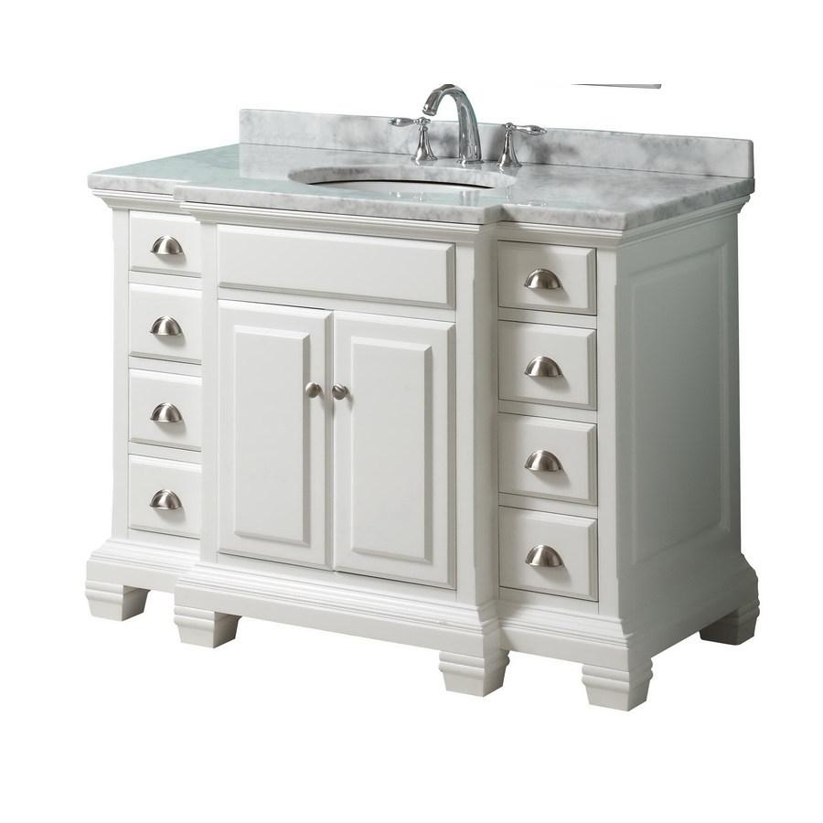 Lowes Bathroom Vanities White: Shop Allen + Roth Vanover White Undermount Single Sink
