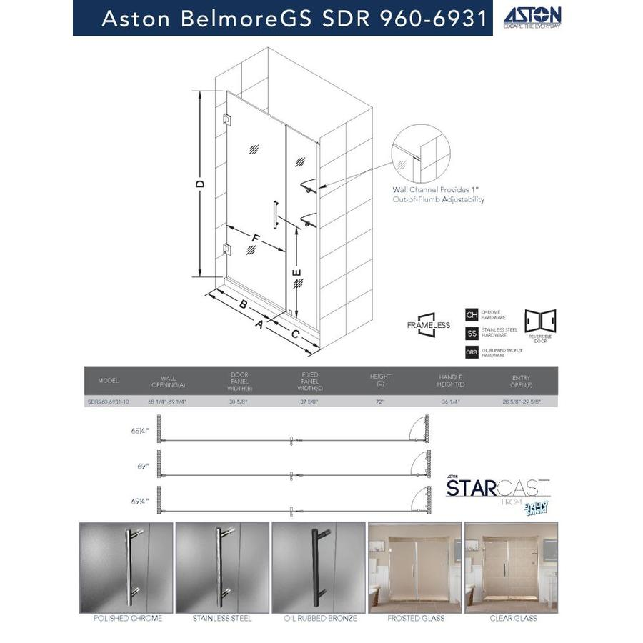 Aston Belmore Gs 72 In H X 68 25 In To 69 25 In W Frameless Hinged Shower Door Frosted Glass In The Shower Doors Department At Lowes Com