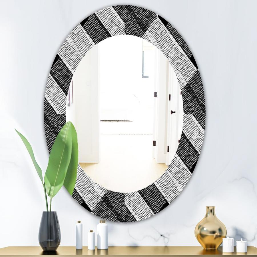 Designart Designart Black And White Check Stipes Pattern Modern Mirror Oval Or Round Wall Mirror At Lowes Com