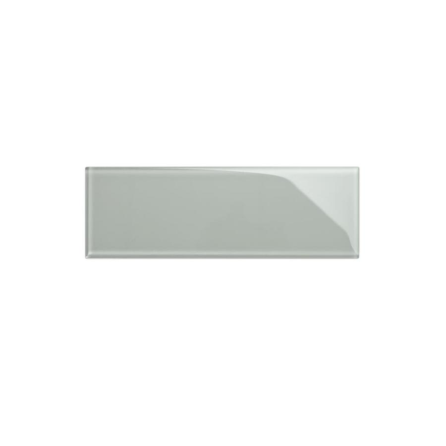 Giorbello 4x12 Glass Subway Tiles 15 Pack True Gray 4 In X 12 In Glossy Glass Subway Wall Tile In The Tile Department At Lowes Com