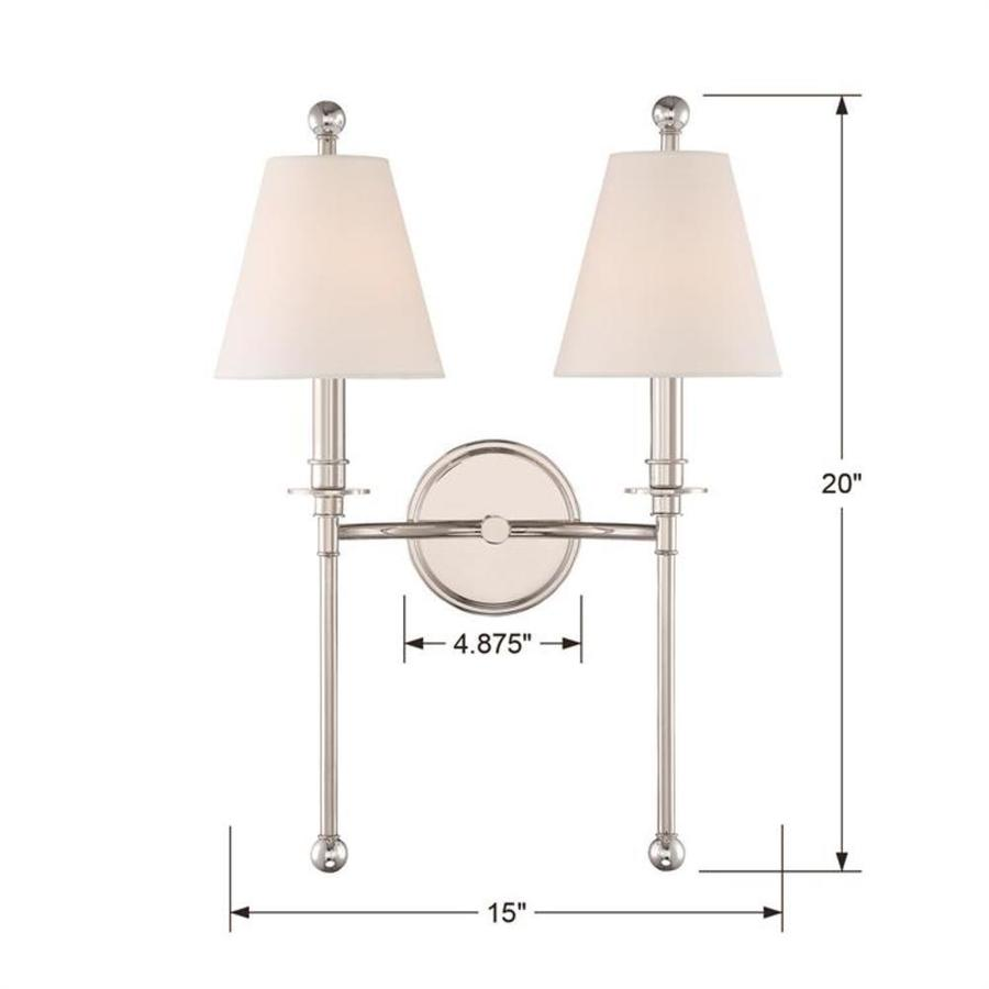 Crystorama Riverdale 15 In W 2 Light Polished Nickel Transitional Wall Sconce In The Wall Sconces Department At Lowes Com