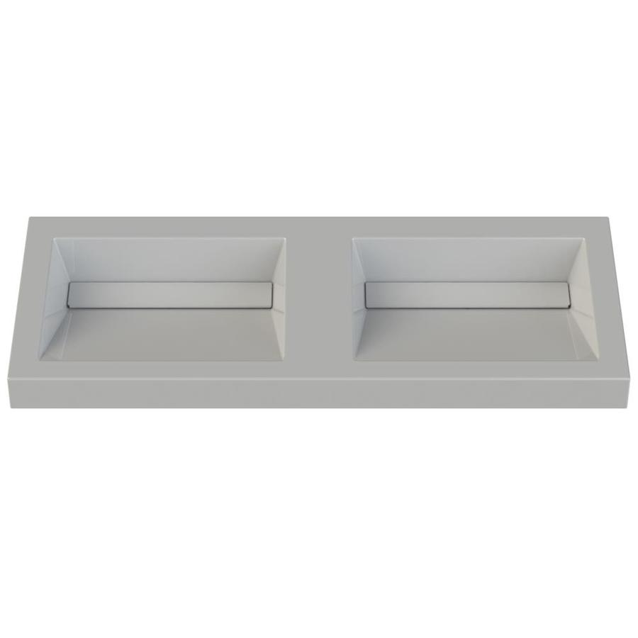 Lift Bridge Kitchen Bath 48 In Gray Double Sink Bathroom Vanity With White Cultured Marble Top In The Bathroom Vanities With Tops Department At Lowes Com
