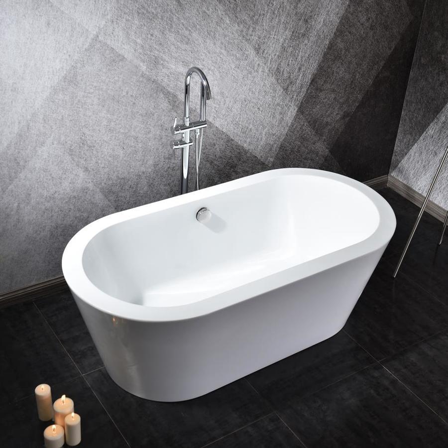 Topcraft 55 In W X 30 In L White Acrylic Oval Center Drain Freestanding Soaking Bathtub In The Bathtubs Department At Lowes Com