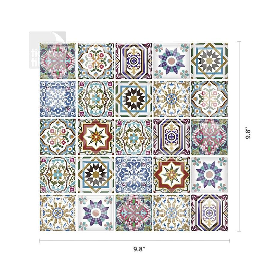 Tic Tac Tiles Square 6 Pack Blue Yellow White Orange 10 In X 10 In Glossy Pvc Uniform Squares Patterned Peel And Stick Wall Tile In The Tile Department At Lowes Com