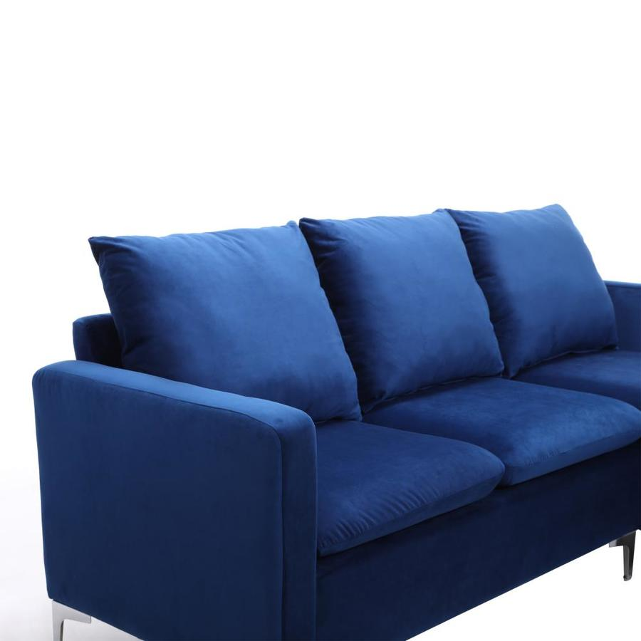 Casainc Revolve Modern Upholstered Sofa Blue Velvet Living Room Sectional Sofa Set With Ottoman In The Living Room Sets Department At Lowes Com