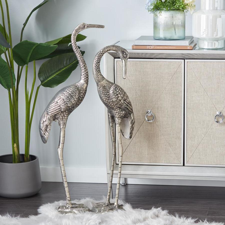Grayson Lane Large Aluminum Bird Sculptures In Silver Finish For Garden Decor Set Of 2 38 8217 H 8217 34 8217 8217 H In The Decorative Accessories Department At Lowes Com