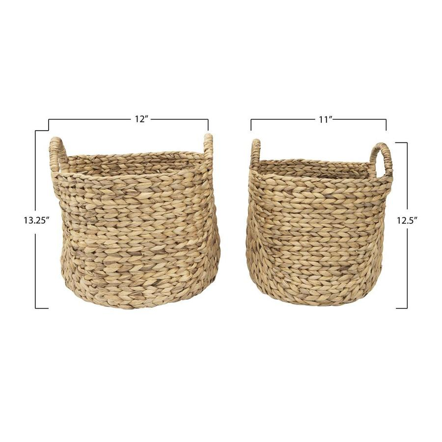 Creative Co Op Handwoven Beige Seagrass Baskets With Round Handles Set Of 2 Sizes In The Storage Bins Baskets Department At Lowes Com