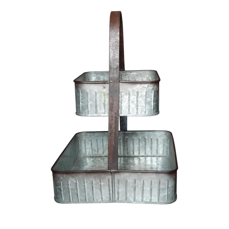 Benzara 2 Tier Square Galvanized Metal Corrugated Tray With Arched Handle Gray In The Serving Trays Caddies Department At Lowes Com