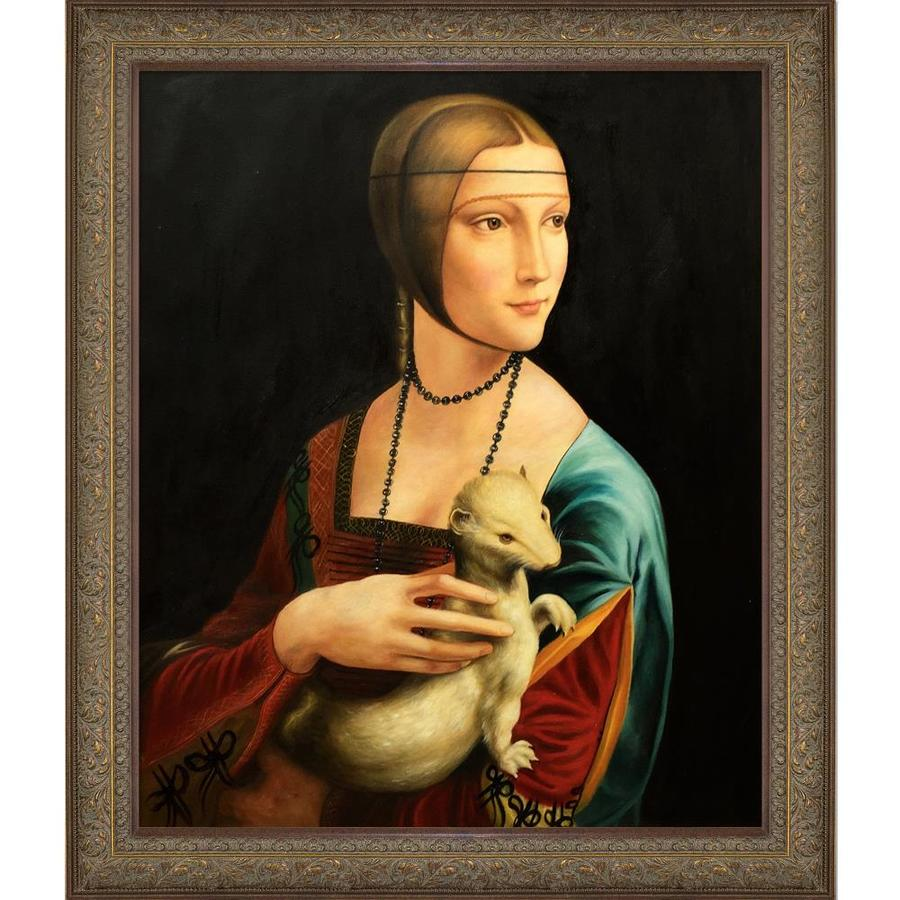 La Pastiche La Pastiche By Overstockart Lady With An Ermine By Leonardo Da Vinci With Natural Wood Bronze Victorian Frame Oil Painting Wall Art Shefinds