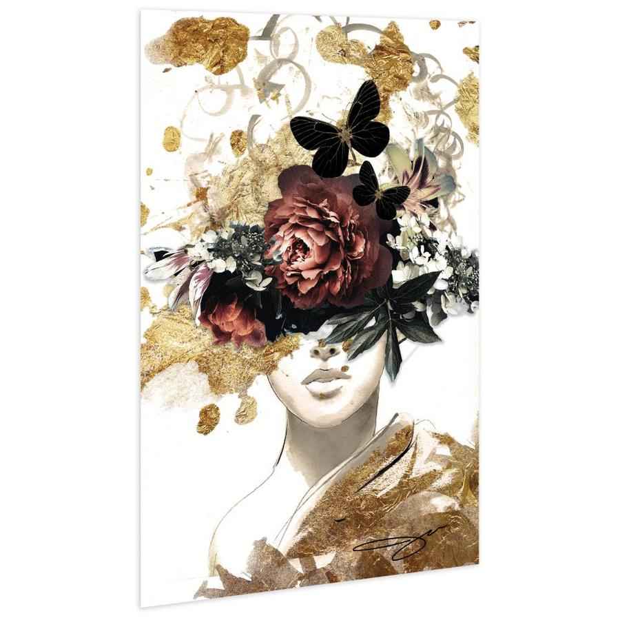 Empire Art Direct Wall Art 48 X 32 Gold Covered Beatiful Woman Frameless Free Floating Tempered Glass Panel Graphic Wall Art In The Wall Art Department At Lowes Com