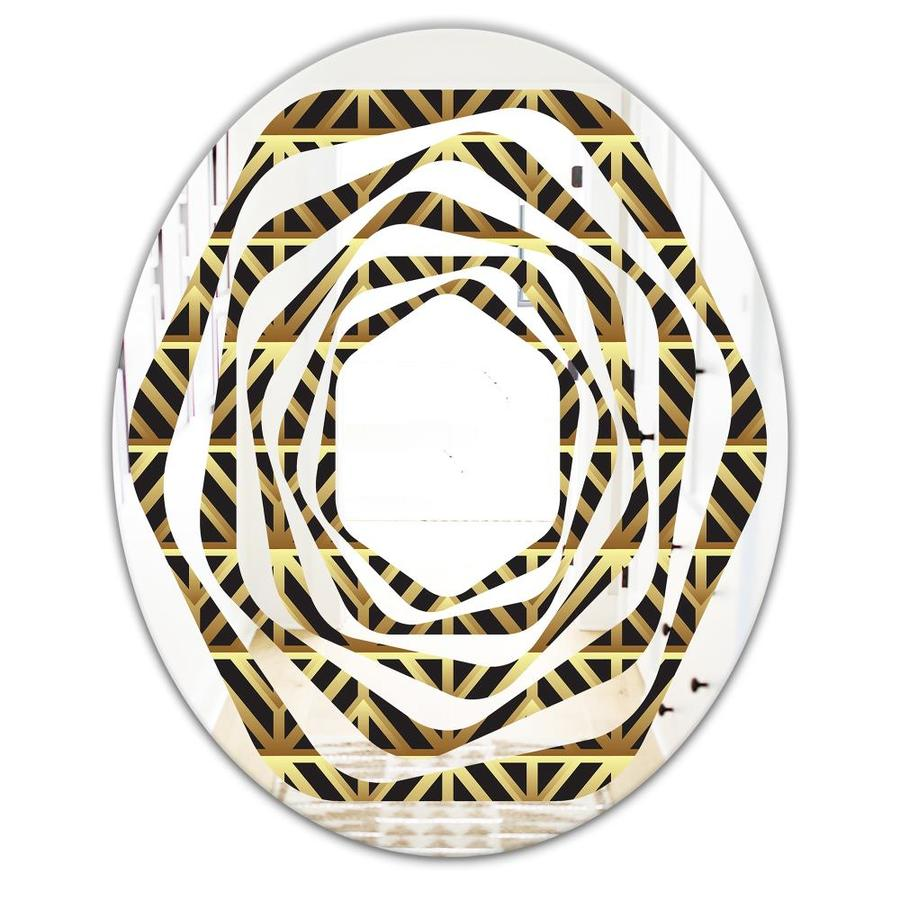 Designart Golden Luxury Metallic Geometrics Xiv Modern Oval Wall Mirror Whirl In The Mirrors Department At Lowes Com