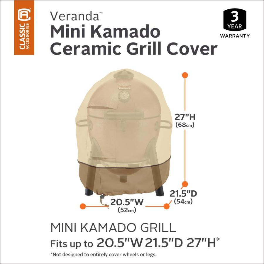 Classic Accessories Veranda 21 In Pebble Earth Bark Kamado Grill Cover In The Grill Covers Department At Lowes Com
